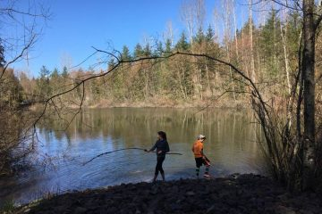 Children at a lake